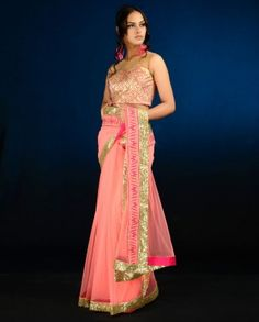 #Exclusivelyin, #IndianEthnicWear, #IndianWear, #Fashion, Fluorescent Pink Sari with Golden Sequined Border