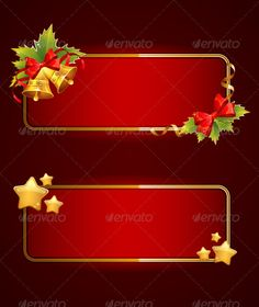 Christmas Blank Banners Set With Bells  #GraphicRiver