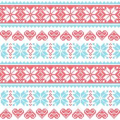 Illustration of Winter, Christmas seamless pixelated pattern with snowflakes and hearts vector art, clipart and stock vectors. Cross Stitch Heart, Cross Stitch Borders, Cross Stitch Patterns, Card Patterns, Embroidery Patterns, Print Patterns, Knitting Charts, Knitting Patterns, Knitting Stitches