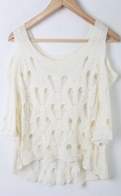 White Dolman Sleeve Cut Out Shoulder Open Mesh Stitch Sweaters