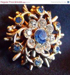 Sale Vintage Bouquet Rhinestone Pin  Brilliant by EstatesInTime