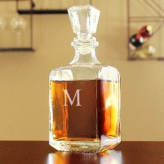 Valentine's Day Gift for Him: Personalized Glass Whiskey Decanter
