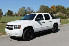 Chevy Avalanche - white truck black rims always looks good. C10 Trucks, Chevrolet Trucks, Pickup Trucks, Rims For Sale, Wheels For Sale, Custom Wheels And Tires, Truck Rims, Chevy Avalanche, Armored Truck