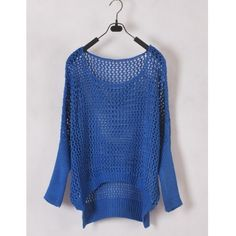 Women Euro Style Hollow-out Bat-wing Sleeve Scoop Asymmetrical Blue... ($17) via Polyvore