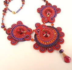 Indian Summer Soutache necklace in red purple and by MiriamShimon, $195.00