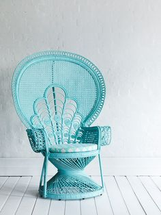Also known as the Morticia Addams chair for and baby showers, this aqua colored beauty has it all. Take the classics add a shade of that has a visual pop and you can see why this wicker bridal chair will never go out of style! Azul Tiffany, Tiffany Blue, Wicker Furniture, Painted Furniture, Mint Furniture, Tree Furniture, Wicker Chairs, Outdoor Chairs, Outdoor Furniture
