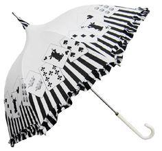 Putumayo Alice Cards Umbrella in black X white