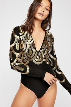 58f6cb7673 Having A Good Time Bodysuit - Black Long Sleeve V-Neck Bodysuit with Gold  Design