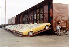 Brand new 1971 Vegas being shipped vertically  (I remember these being shipped out of Lordstown, Ohio)!