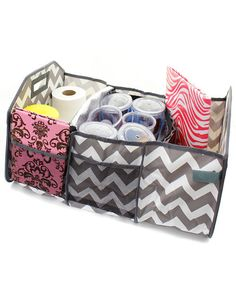 Chevron Zig Zag Personalized Trunk Utility Bag with Insulated Cooler    This is a must have for that on the go family.  Perfect to keep your car organized on vacation, around town, or when heading to those sports activities.  etsy.com/shop/threelittlechickadee