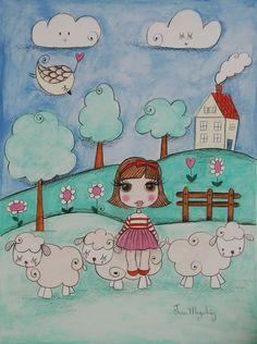Francesca had a little lamb | Aquarela sobre papel