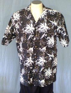 Hawaii Gray Large Hawaiian Shirt Floral Tribal Loud Cotton Blend #Hawaii #Hawaiian