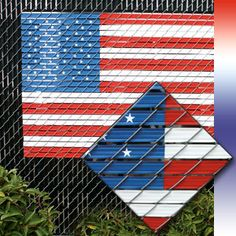 The American Flag Kit can be installed easily in most chain link fences. It's a great way to display the stars and stripes at home, school, church, or the office; wherever there's a chain link fence. The possibilities are endless.