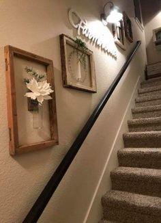 68 Ideas Farmhouse Stairs Decor Stairways For 2019 - Farmhouse Decoration Stair Landing Decor, Staircase Wall Decor, Staircase Landing, Stair Decor, Entryway Decor, Wall Decor For Stairway, Ideas For Stairway Walls, Basement Stairway, Hallway Wall Decor