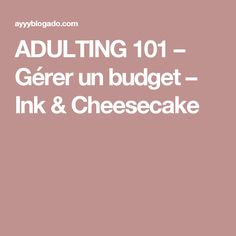 ADULTING 101 – Gérer un budget – Ink & Cheesecake