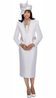 Clearance GMI G6303-White - Star Neck Skirt Suit With Stud Details