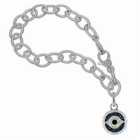 Judith Ripka Link Bracelet with Evil Eye Charm in Sterling Silver