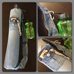 upcycle jeans into a yoga mat bag, and use the pockets and belt loops...great idea
