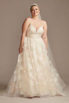 A Line Wedding Dress Sweetheart, Wedding Dresses With Straps, Tea Length Wedding Dress, Tea Length Dresses, Wedding Dresses Plus Size, Plus Size Wedding, Wedding Dress Styles, Wedding Gowns, Davids Bridal Plus Size