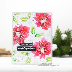 Simon Says Stamp- Winter Flowers. I used white pearl embossing powder and colored the images loosely with Zig markers using some darker colors. Christmas Cards 2017, Holiday Cards, Flower Stamp, Flower Cards, Winter Flowers, Winter Trees, Scrapbook Cards, Scrapbooking, Simon Says Stamp