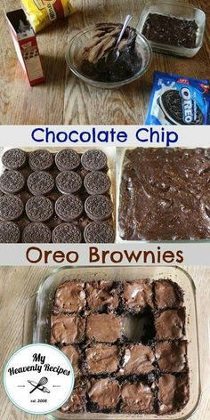 A heavenly dessert that involves Oreo's and Brownies!- A heavenly dessert that involves Oreo's and Brownies! A heavenly dessert that involves Oreo's and Brownies! Chocolate Chip Oreo Brownie Recipe, Brownie Desserts, Mini Desserts, Easy Desserts, Chocolate Chip Cookie Dough, Delicious Desserts, Yummy Food, Chocolate Oreo, Oreo Dessert Recipes