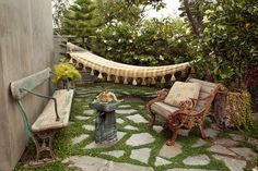 stone patio with hammock