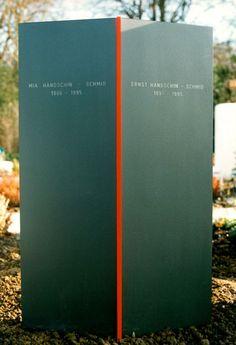 Grabstein Grosseltern 1995 Stahl, Plexiglas, Eisenglimmerfarbe 80 x 50 x 13 cm