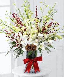 Orchids & Berries by City Line Florist #Holiday#Christmas #Trumbull