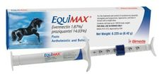 Case of 12 EQUIMAX PASTE DEWORMER by EquiMax. $171.00. Equimax horse dewormer provides safe, broad-range control of parasites, including tapeworms and bots. Equimax contains 1.87% Ivermectin and 14.03% Praziquantel. Equimax is the only ivermectin/praziquantel horse wormer approved as safe for all horses.