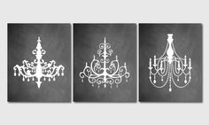 Modern Chandelier Silhouette Wall Art Trio by SusanNewberryDesigns, $42.50