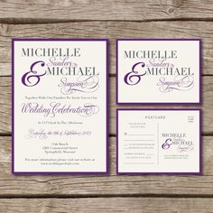 Simple & Elegant // Wedding Invitation & RSVP Postcard in Purple and Ivory