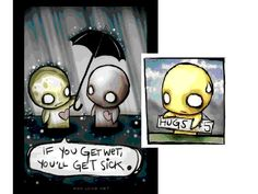 hugs - umbrellas - emo love - cartoon