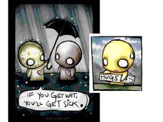 hugs - umbrellas - emo love - cartoon