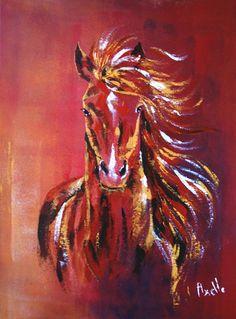 Ce tableau d'un cheval au galop dans le vent est une peinture  acrylique au couteau, réalisée sur une toile de 30 cm x 40 cm sur 1.5 cm d'épaisseur.  Cette toile ne nécessite - 12616929