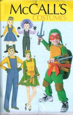 Elegant Boys Ninja Turtle Minions Halloween Costume Suit McCalls 7214 Sewing Pattern  By PeoplePackages Character Costumes,