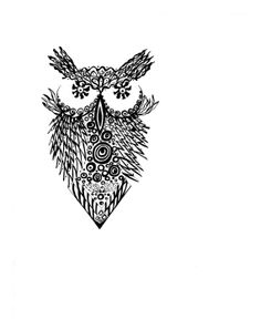 Owl, pen and ink illustration, black and white,Zentangle, zendoodle, drawing