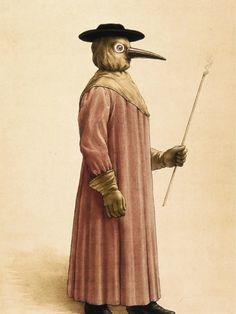 A 17th C watercolor of a costume worn by physicians during an outbreak of the plague. Physicians believed that the disease was spread by air and when treating victims they carried flowers in their pockets which they dissolved in vinegar along with the powder of cloves, cinnamon, incense and perfumed oils. This material was then placed in the long noses of masks they wore to protect themselves from contagion (and to hide the offensive odor of death).