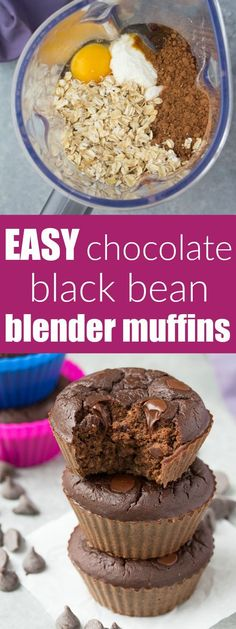 Chocolate Black Bean Blender Muffins - Mix these up in your blender in minutes! High protein with 7 grams of protein per muffin! | http://www.kristineskitchenblog.com