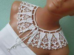 Crochet Collar Pattern, Col Crochet, Crochet Necklace Pattern, Crochet Lace Collar, Crochet Woman, Crochet Blouse, Thread Crochet, Crochet Scarves, Irish Crochet