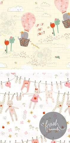 Today on the blog...Sweet Baby Patterns.  Up Up & Away & Bunnies by Gill Eggleston for A Fresh Bunch