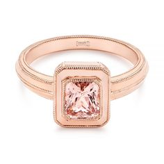 This gorgeous engagement ring features a radiant cut peach sapphire bezel set in rose gold, accented by milgrain beading on the tapered band below. Designed and created by Joseph Jewelry Joseph, Peach Sapphire, Thing 1, Band Engagement Ring, Halo Diamond, Unique Rings, Custom Jewelry, Band Rings, Rose Gold