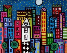 Abstract Modern City Art NYC New york Print by HeatherGallerArt, $16.00