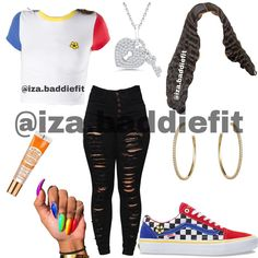 """OUTFIT INSPO on Instagram: """"Creator: @iza.baddiefit  Requested💜 Would you wear this Comment down below⬇️ Follow @iza.baddiefit for more - Tags #viral #trendingnow…"""" Boujee Outfits, Cute Swag Outfits, Stylish Outfits, Fashion Outfits, How To Wear Vans, High School Outfits, Teenager Outfits, Trending Now, Going Out"""