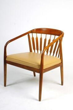 Kipp Stewart; Walnut and Leather 'Declaration' Lounge Chair for Drexel, 1950s.