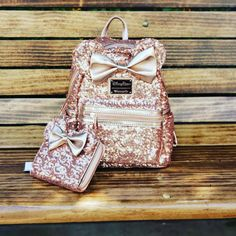 The Sequin Rose Gold Minnie Backpack (And Matching Wallet) Is Amazing