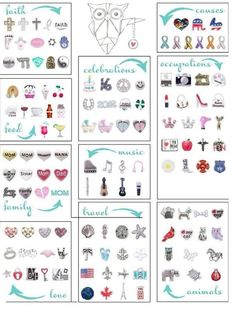 Origami Owl charms...something for everyone. :)