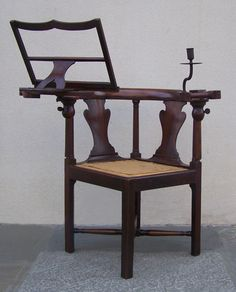 View this item and discover similar for sale at - A unique century mahogany metamorphic reading chair with detachable book and candle arms. The chair has a flat semi-circular top with an urn-shaped Georgian Furniture, Antique Furniture, Corner Chair, Candle Stand, Antique Chairs, Fine Furniture, Modern Chairs, 18th Century, Snuggles