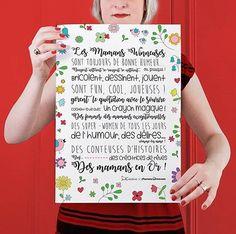 Une affiche pour des mamans au top, des mamans travailleuses, bricoleuses, narratrices... bref pour les super mamans ! Joliement Illustrée ! Affiche A3, papier épais