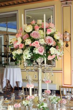 Tall wedding centerpiece by Design Works floral studio in Colorado Springs, CO