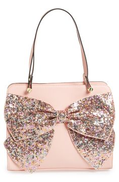 Pink satchel with the most fabulous glitter bow. WANT THIS NOW!!! <3